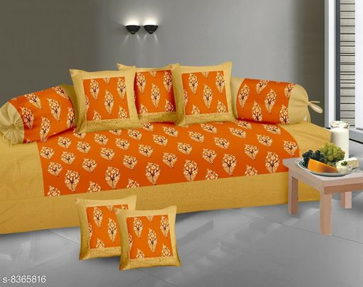 Diwan Sets  *Gold Print Diwan set 100% cotton 180 TC set of 8 (1+2+5) Beautiful design, Export Quality perfect match for your diwan or single bed * )  *Bedsheet Fabric* Cotton  *Bolster Cover Fabric* Cotton  *Cushion Cover Fabric* Cotton  *No. of Bedsheets* 1  *No. of Bolster Covers* 2  *No. of Cushion Covers* 5  *Thread Count* 180  *Print or Pattern Type* Floral  *Multipack* 5  *Sizes*   *Free Size (Bedsheet Length Size* 90 in, Bedsheet Width Size  *Sizes Available* Free Size *    Catalog Name: Classic Fashionable Diwan Sets CatalogID_1403427 C117-SC1107 Code: 239-8365816-9952