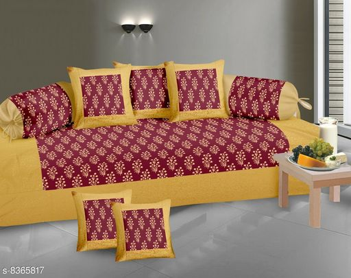 Diwan Sets  *Gold Print Diwan set 100% cotton 180 TC set of 8 (1+2+5) Beautiful design, Export Quality perfect match for your diwan or single bed * )  *Bedsheet Fabric* Cotton  *Bolster Cover Fabric* Cotton  *Cushion Cover Fabric* Cotton  *No. of Bedsheets* 1  *No. of Bolster Covers* 2  *No. of Cushion Covers* 5  *Thread Count* 180  *Print or Pattern Type* Floral  *Multipack* 5  *Sizes*   *Free Size (Bedsheet Length Size* 90 in, Bedsheet Width Size  *Sizes Available* Free Size *    Catalog Name: Classic Fashionable Diwan Sets CatalogID_1403427 C117-SC1107 Code: 239-8365817-9952