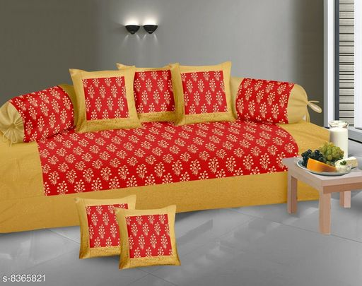 Diwan Sets  *Gold Print Diwan set 100% cotton 180 TC set of 8 (1+2+5) Beautiful design, Export Quality perfect match for your diwan or single bed * )  *Bedsheet Fabric* Cotton  *Bolster Cover Fabric* Cotton  *Cushion Cover Fabric* Cotton  *No. of Bedsheets* 1  *No. of Bolster Covers* 2  *No. of Cushion Covers* 5  *Thread Count* 180  *Print or Pattern Type* Floral  *Multipack* 5  *Sizes*   *Free Size (Bedsheet Length Size* 90 in, Bedsheet Width Size  *Sizes Available* Free Size *    Catalog Name: Classic Fashionable Diwan Sets CatalogID_1403427 C117-SC1107 Code: 239-8365821-9952