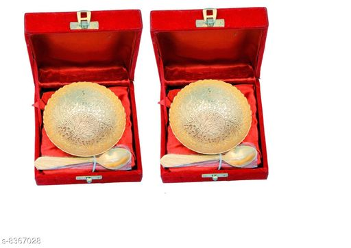 Pooja Needs Pooja Needs   *Material* Gold plated  *No. of Bowls* 2  *No. of Spoons* 2  *Pack* Pack of 2  *Sizes Available* Free Size *    Catalog Name: Pooja Needs CatalogID_1403630 C128-SC1315 Code: 973-8367028-