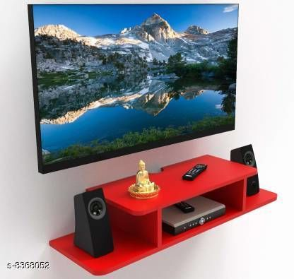TV Setup Box & Remote Stand Wooden Wall Shelves