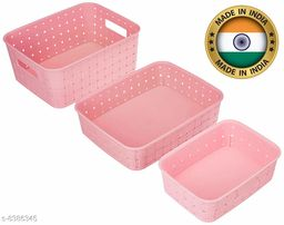 Smart Shelf Basket Set 3 Pc Storage Basket For Fruits, Vegetables,Magazines, Cosmetics etc Storage Basket ( LxBxH - 25 x 19.5 x 10 cm ) (Pink Colour)