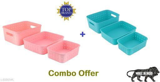 Smart Shelf Basket Set 3 Pc Storage Basket For Fruits, Vegetables,Magazines, Cosmetics etc Storage Basket ( LxBxH - 25 x 19.5 x 10 cm ) (Blue + Pink Colour)