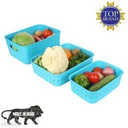 Smart Shelf Basket Set 3 Pc Storage Basket For Fruits, Vegetables,Magazines, Cosmetics etc Storage Basket ( LxBxH - 25 x 19.5 x 10 cm ) (Blue Colour)