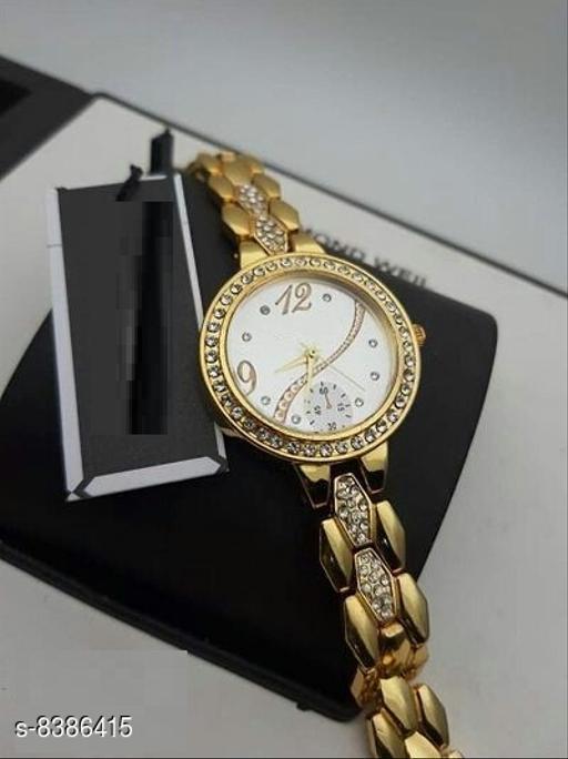 Gold Strap New Best Designer Look Stylish Diamond Studded Analog Watch For Girls & Women