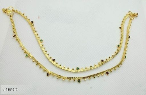 Anklets & Toe Rings Shivam Jewellery Brass Designer Gold Plated Anklets for Girls and Women  *Base Metal* Brass  *Plating* Gold Plated  *Stone Type* Artificial Stones  *Sizing* Non-Adjustable  *Type* Chain Anklet  *Multipack* 1  *Sizes* Free Size ( Length  *Sizes Available* Free Size *    Catalog Name: Shivam Jewellery Brass Designer Gold Plated Anklets for Girls and Women CatalogID_1408384 C77-SC1098 Code: 243-8386913-