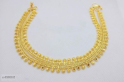 Anklets & Toe Rings Shivam Jewellery Brass Designer Gold Plated Anklets for Girls and Women  *Base Metal* Brass  *Plating* Gold Plated  *Stone Type* Artificial Stones  *Sizing* Non-Adjustable  *Type* Chain Anklet  *Multipack* 1  *Sizes* Free Size ( Length  *Sizes Available* Free Size *    Catalog Name: Shivam Jewellery Brass Designer Gold Plated Anklets for Girls and Women CatalogID_1408384 C77-SC1098 Code: 243-8386915-