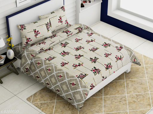 Cotton printed Rozee 90x108 Double bed bedsheets