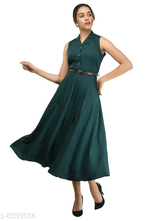 Rudraa women's bottal green crepe solid Stylish  with belt  dress
