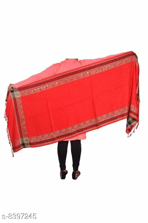 Devi Collection Viscose Red Printed Women Shawl