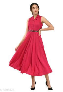 Rudraa women's pink crepe solid Stylish  with belt  dress