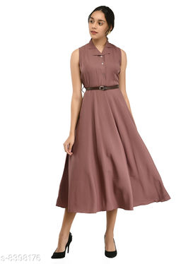Rudraa women's coral crepe solid Stylish  with belt  dress