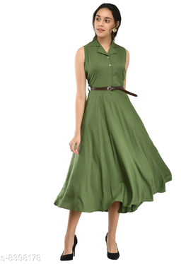 Rudraa women's green crepe solid  Stylish  with belt  dress
