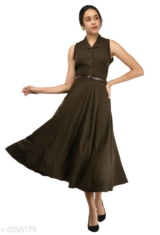 Rudraa women's brown crepe solid Stylish  with belt  dress