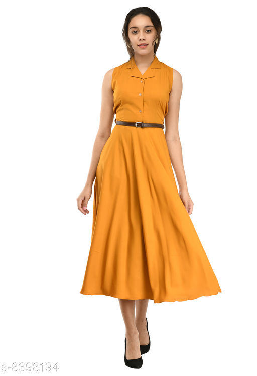 Rudraa women's yellow crepe solid Stylish  with belt  dress