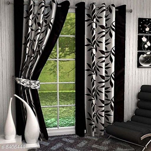 Anaya Creation Beautiful Floral Polyester 5 Feet Window Curtains(Pack of 2) Black