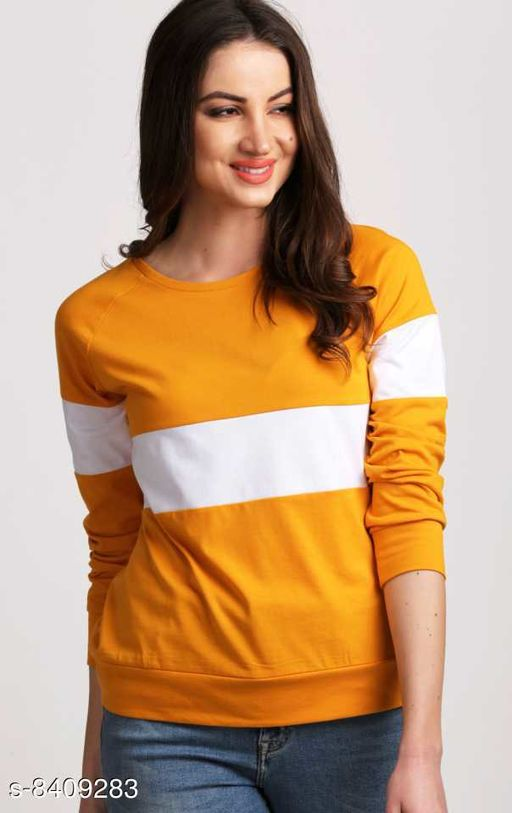 Popster Mustard & white color blocked Cotton Round Neck Regular Fit Long Sleeve Womens T-shirt