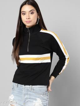 Popster Black Solid Cotton Turtle Neck Regular Fit Long Sleeve Womens T-shirt