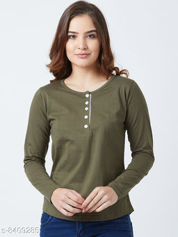 Popster Olive Solid Cotton Round Neck Regular Fit Long Sleeve Womens T-shirt