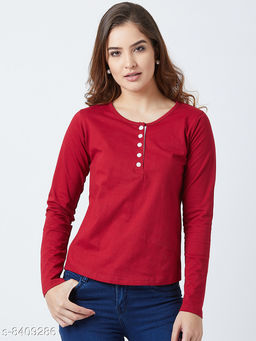 Popster Red Solid Cotton Round Neck Regular Fit Long Sleeve Womens T-shirt