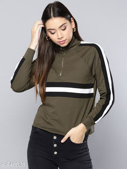Popster Olive Solid Cotton Turtle Neck Regular Fit Long Sleeve Womens T-shirt