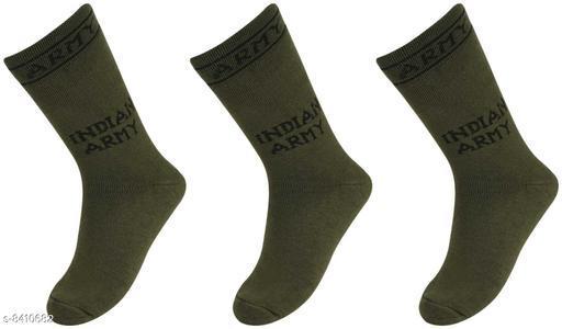 Pinkit Organic Cotton Men Indian Army Full Length Socks -Pack of 3 Pairs