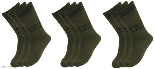 Pinkit Organic Cotton Men Indian Army Full Length Socks -Pack of 9 Pairs
