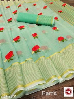 soft cotton  saree with complete thread work