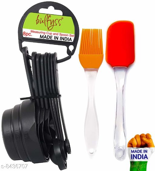 Popular Combo - 8Pcs Black Measuring Cups and Spoons Set, Silicone Series Spatula and Brush Set A