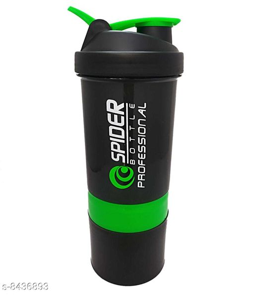 MobFest® Spider Protein Shaker Bottle for Gym - Vitamins Pills and Supplements Storage Two Detachable Compartments Sports Sipper Bottle, 500 ml (Multicolor)