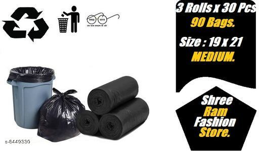 Garbage Bags Garbage bag  *Material* PVC  *Pattern* Solid  *Pack* Pack Of 3  *Product Length* 21 cm  *Product Breadth* 19 cm  *Sizes Available* Free Size *    Catalog Name: Garbage bag CatalogID_1423060 C89-SC1748 Code: 232-8449330-