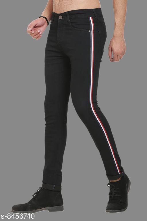 Sobbers Men's Poly Cotton Solid Side Stripe Black Jeans