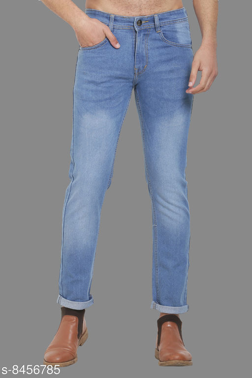 Sobbers Men's Poly Cotton Solid Dark Blue Jeans
