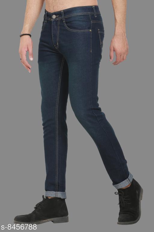 Sobbers Men's Poly Cotton Solid Light Blue Jeans