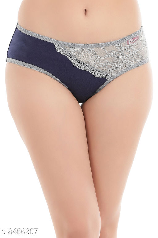Clovia Cotton Mid Waist Hipster Panty with Lace Panel In Blue