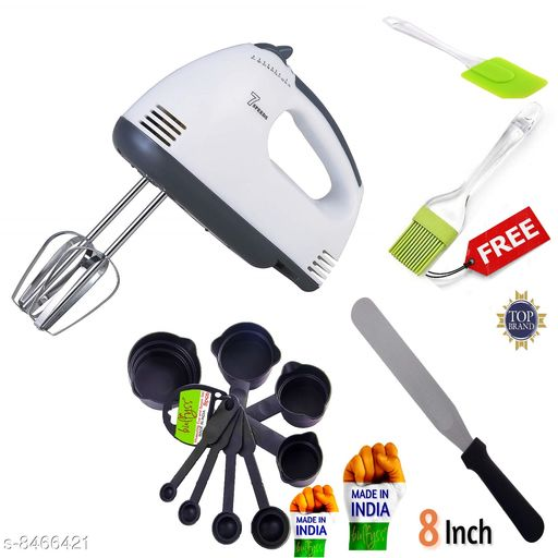 GreenFinch Hand Mixer Beater Blender Electric Cream Maker for Cakes with Base 7 Speed Control and 2 Stainless Steel Beaters, 2 Dough Hooks (White) and Dough Hooks  with 8  Measuring Cups and cake knife and silicon brush FREEE spatula