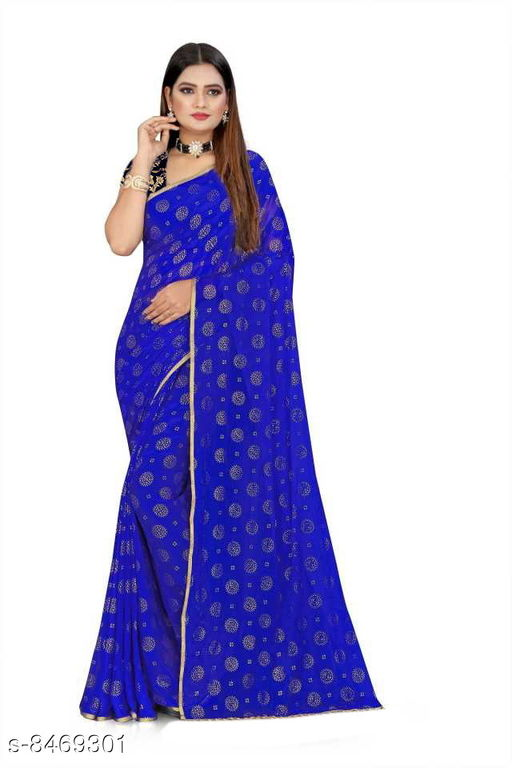 Stylish Sarees women's chiffon foil print saree with unsteached BLACK JECQUARD blouse peice