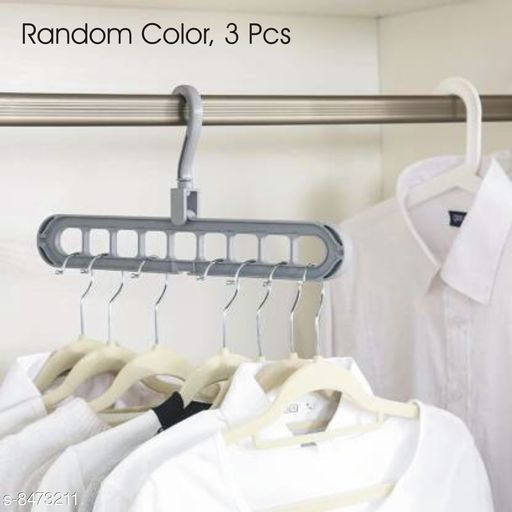 360º Swivel Space Saver Folding Hole Hangers for Clothes, Multi Color, 3 Pcs