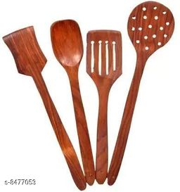 A S Handicrafts Wood Sheesham Cooking Spoons for Non-Stick Utensils Set of 4 Kitchen Tool Set