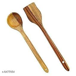 A S Handicrafts Wooden Cooking Spoon - 2 Pieces
