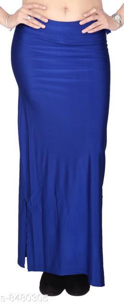 Comix Women Lycra Fabric Comfort Fit Long Length Plain Shiney Petticoat Shapewear (Blue,XL)
