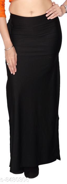 Comix Women Lycra Fabric Comfort Fit Long Length Plain Shiney Petticoat Shapewear (Black,XL)