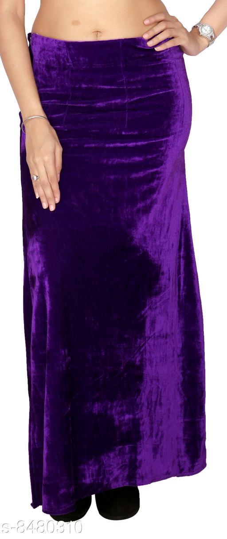 Carrel Imported Velvet Fabric Ethnic Wear Solid  Purple Coloured Free Size Women Petticoat