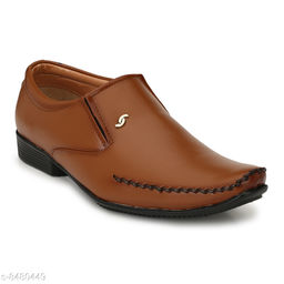 Runway Shoe Men's Tan Premium Quality Synthetic Slip on Formal Shoe