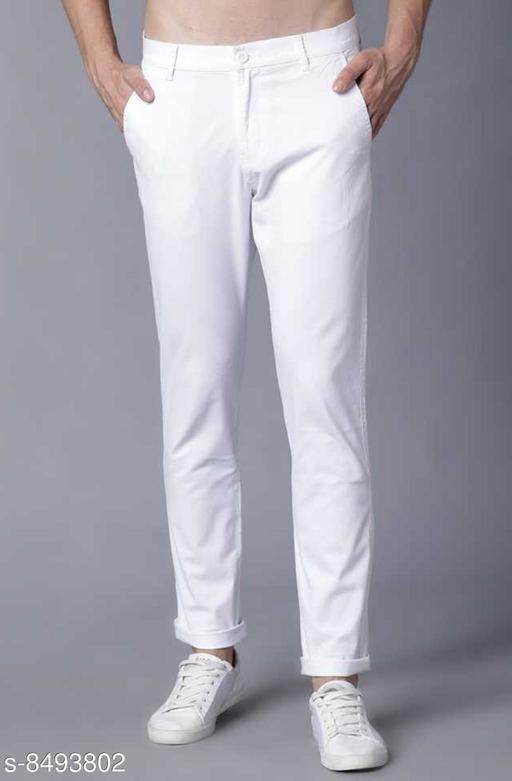 fashlook white casual pant for men