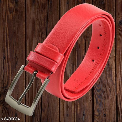 Winsome Deal Men's Artificial Leather, Solid Textured Red Formal Belt
