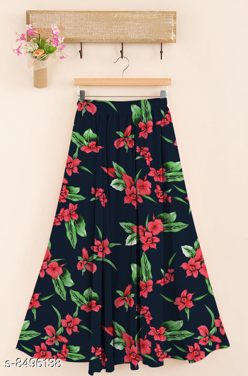 Ethnic Bottomwear - Skirts  Trendy Women Western Skirt  *Fabric* Rayon  *Pattern* Printed  *Multipack* 1  *Size*   *Free Size (Waist Size* Up To 28 in To 38 in, Length Size  *Sizes Available* Free Size *    Catalog Name: Designer Trendy Women Western Skirts CatalogID_1434001 C74-SC1013 Code: 744-8496138-