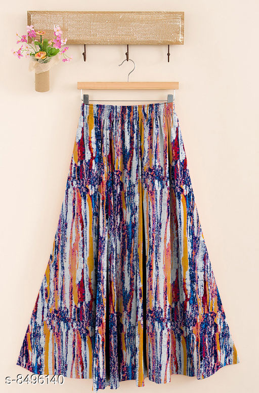 Ethnic Bottomwear - Skirts  Trendy Women Western Skirt  *Fabric* Rayon  *Pattern* Printed  *Multipack* 1  *Size*   *Free Size (Waist Size* Up To 28 in To 38 in, Length Size  *Sizes Available* Free Size *    Catalog Name: Designer Trendy Women Western Skirts CatalogID_1434001 C74-SC1013 Code: 744-8496140-