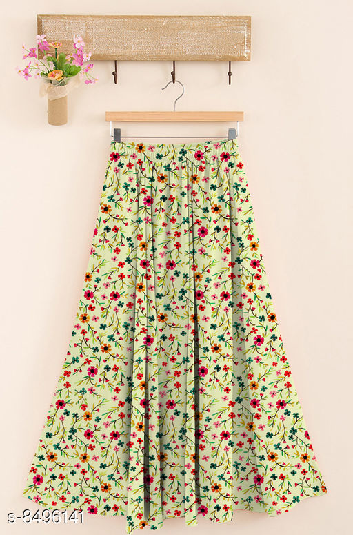 Ethnic Bottomwear - Skirts  Trendy Women Western Skirt  *Fabric* Rayon  *Pattern* Printed  *Multipack* 1  *Size*   *Free Size (Waist Size* Up To 28 in To 38 in, Length Size  *Sizes Available* Free Size *    Catalog Name: Designer Trendy Women Western Skirts CatalogID_1434001 C74-SC1013 Code: 744-8496141-