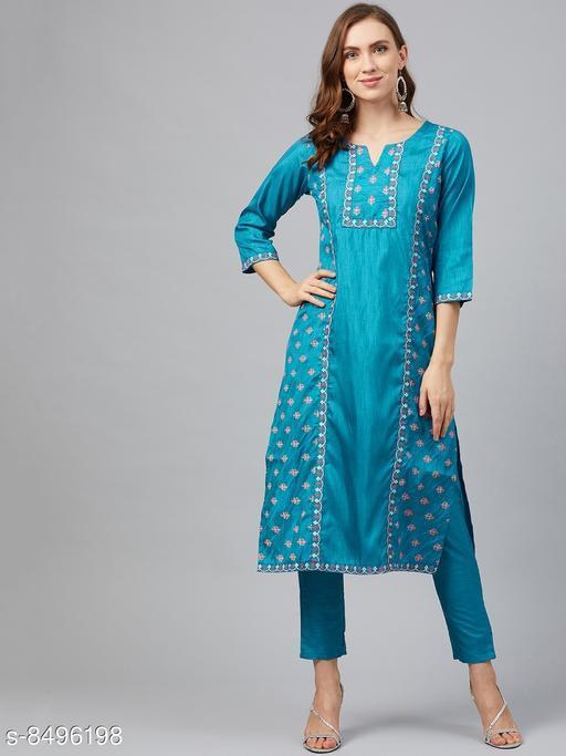 Ziyaa Women's Peacock Blue Poly Silk Khadi Straight Kurta With Pant Set